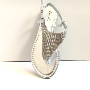 Silver Shiny Thong Sandals w/ Ankle Strap